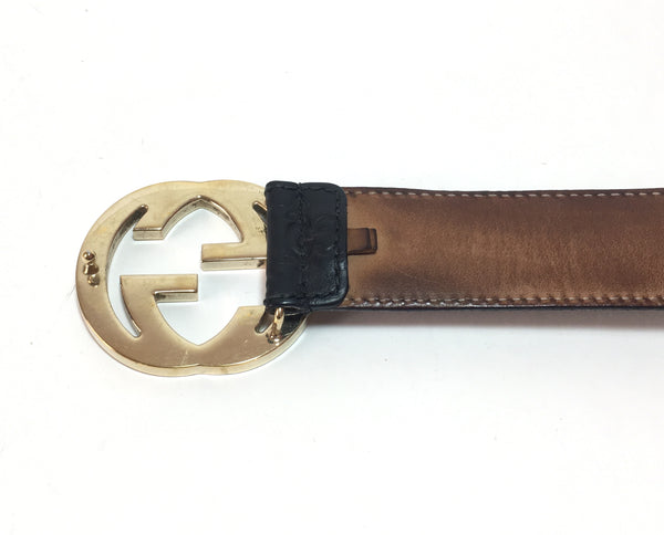 Gucci Men's Black Leather GG Monogram Logo Belt | Pre Loved |