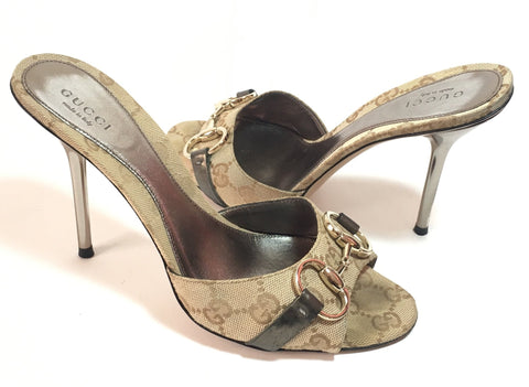 Gucci Signature Monogram Canvas Stiletto Heels | Gently Used |