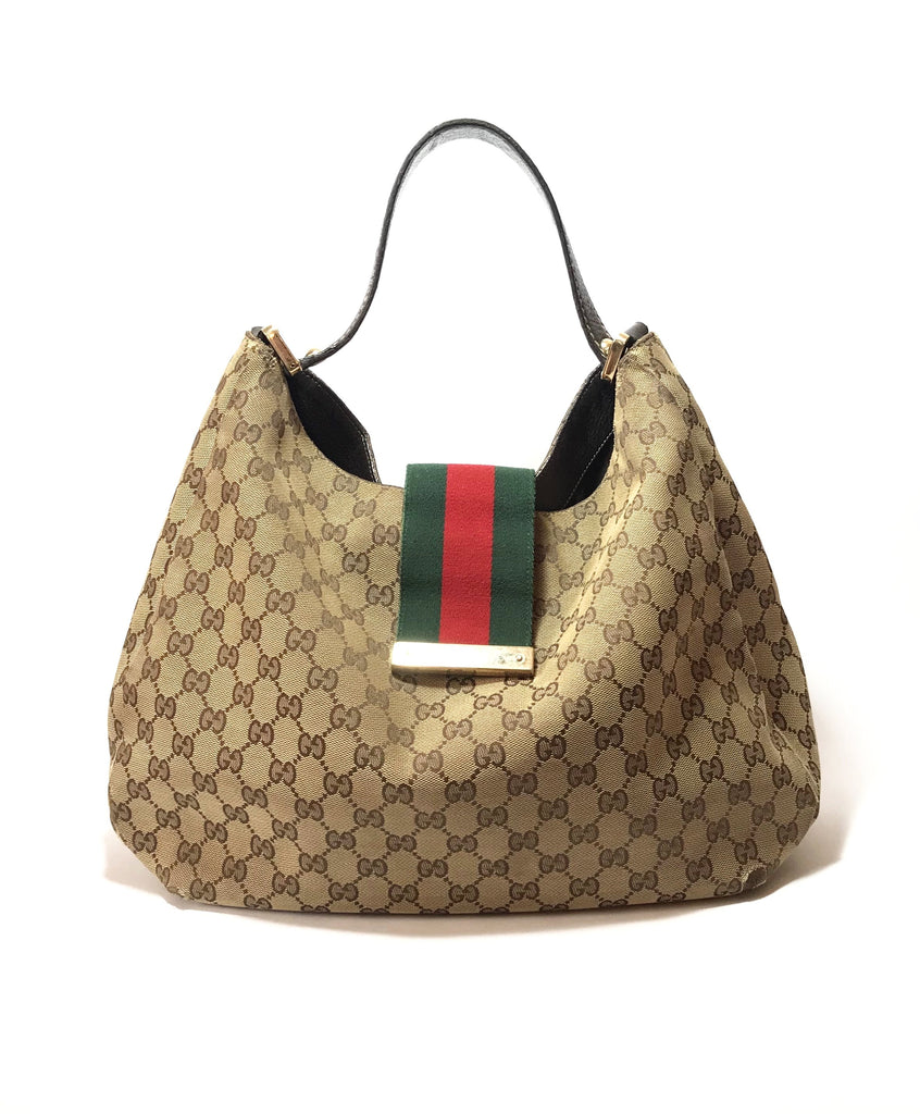 Gucci Monogram Canvas with Web Stripe Hobo Bag | Pre Loved |