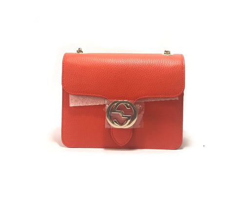 Gucci Orange Interlocking GG Pebbled Leather Small Shoulder Bag | Brand New |