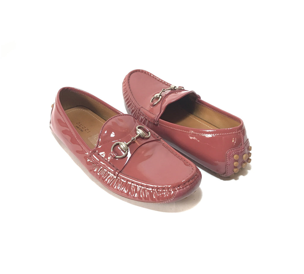 Gucci Pink Patent Leather Horsebit Loafers | Gently Used |