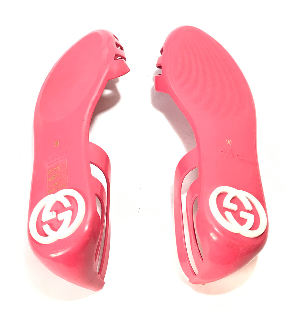 Gucci Pink Jelly 'Marola' Peep Toe Sandals | Gently Used |