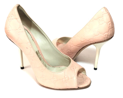 Gucci Nude Pink & White Guccissima Textured Leather Peep-toe Pumps | Pre Loved |