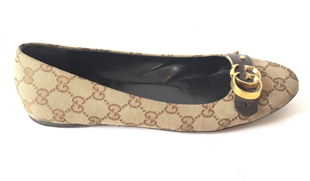 3c5a666986ec1 Gucci Monogrammed Canvas with Leather Trim Ballet Flats