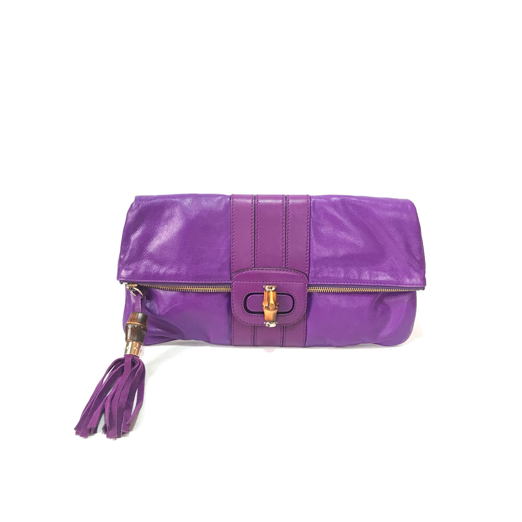 Gucci Purple Leather Large 'Lucy' Clutch | Pre Loved |
