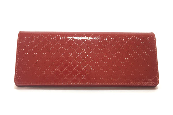 Gucci Red Broadway Micro-Guccissima Patent Leather Clutch | Like New |