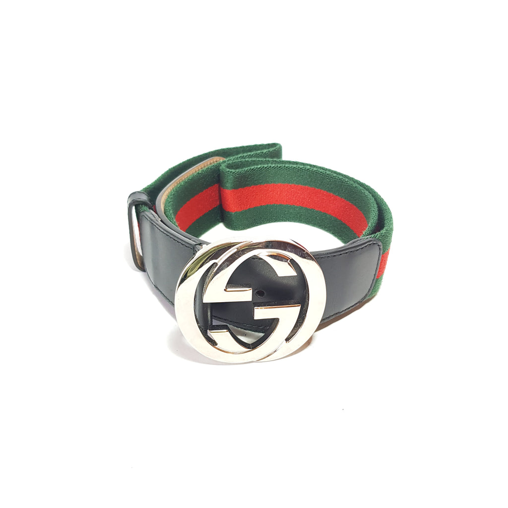 Gucci Web Interlocking Logo Unisex Belt | Pre Loved |