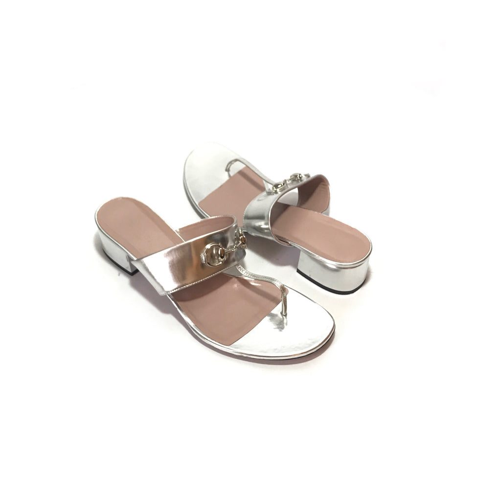 Gucci Silver Horsebit Patent Leather Sandals | Gently Used |