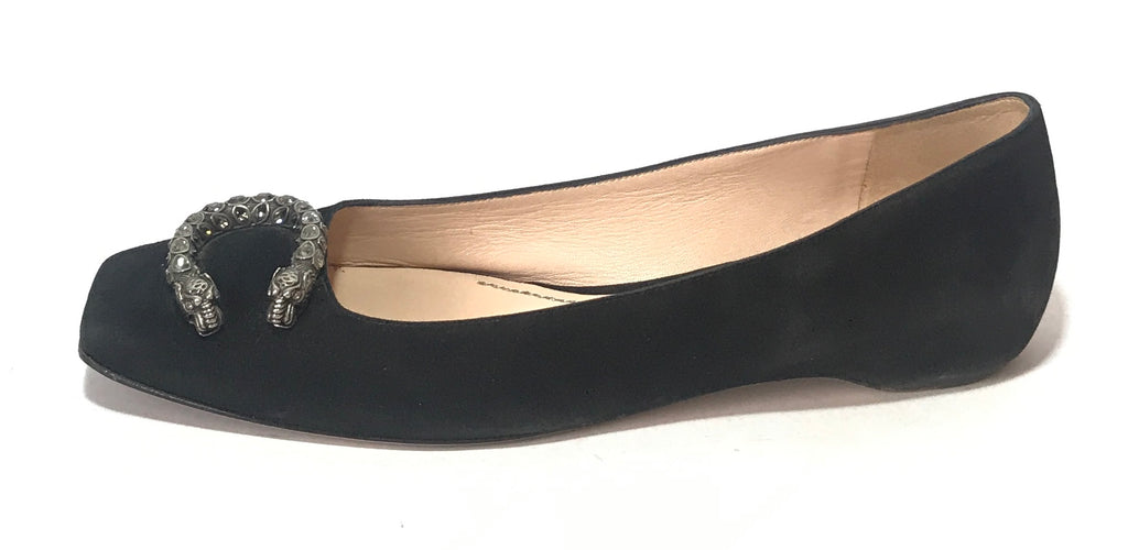 Gucci 'Dionysus' Black Suede Ballet Flats | Pre Loved |