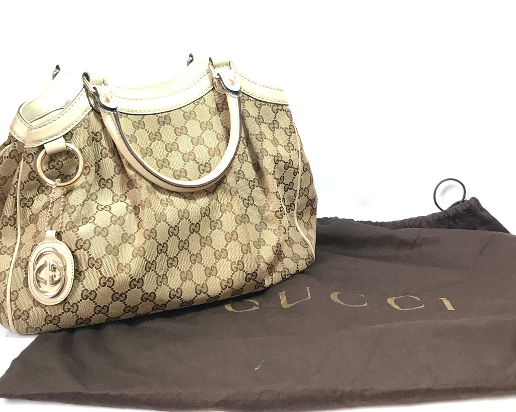 Gucci 'Sukey' Canvas with Leather Trim Tote | Pre Loved |