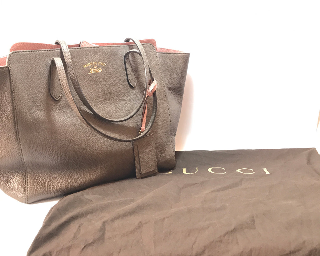 Gucci Taupe/Pink Calf Skin 'Swing' Medium Leather Tote | Like New |