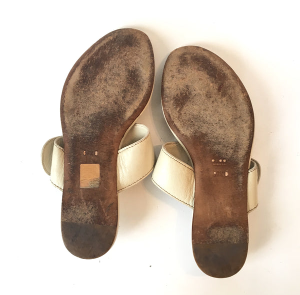 Gucci White Leather Sandals | Pre Loved |