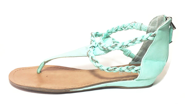 Guess Pastel Green Leather Sandals | Pre Loved |