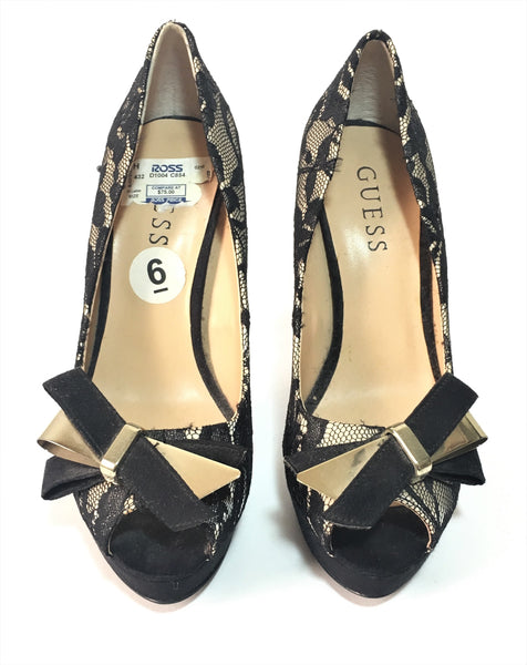 Guess Black & Nude Lace Peep Toe Pumps | Gently Used |