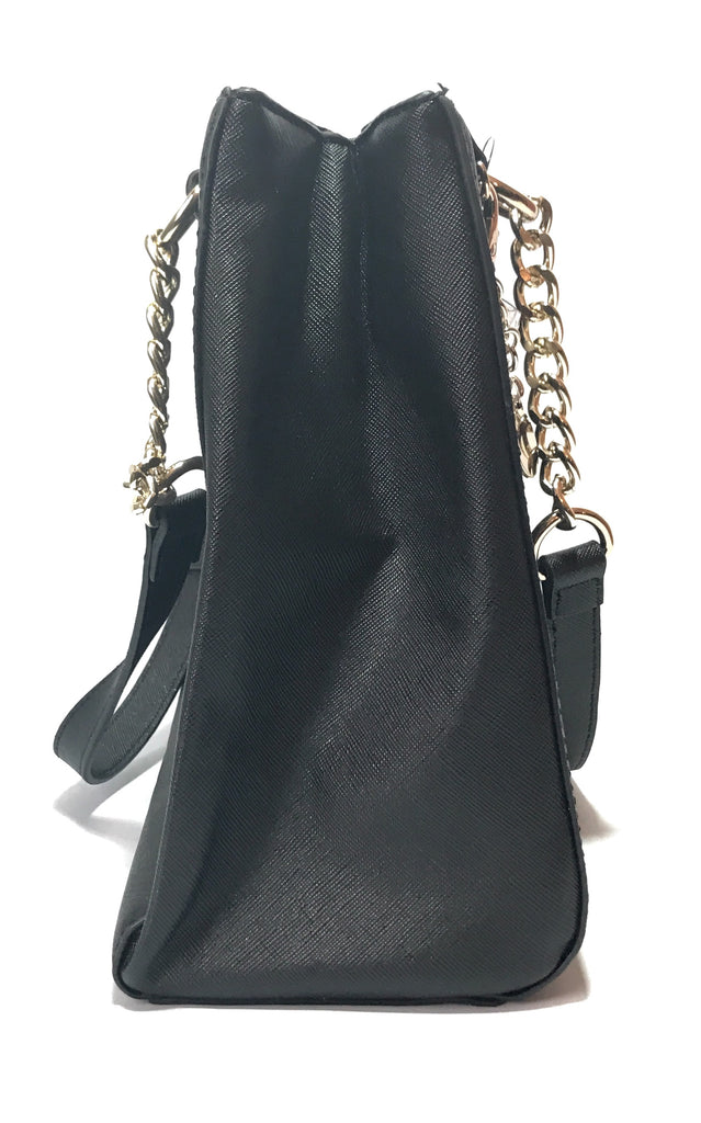 Guess Black Leather with Gold Chain Shoulder Bag | Brand New |