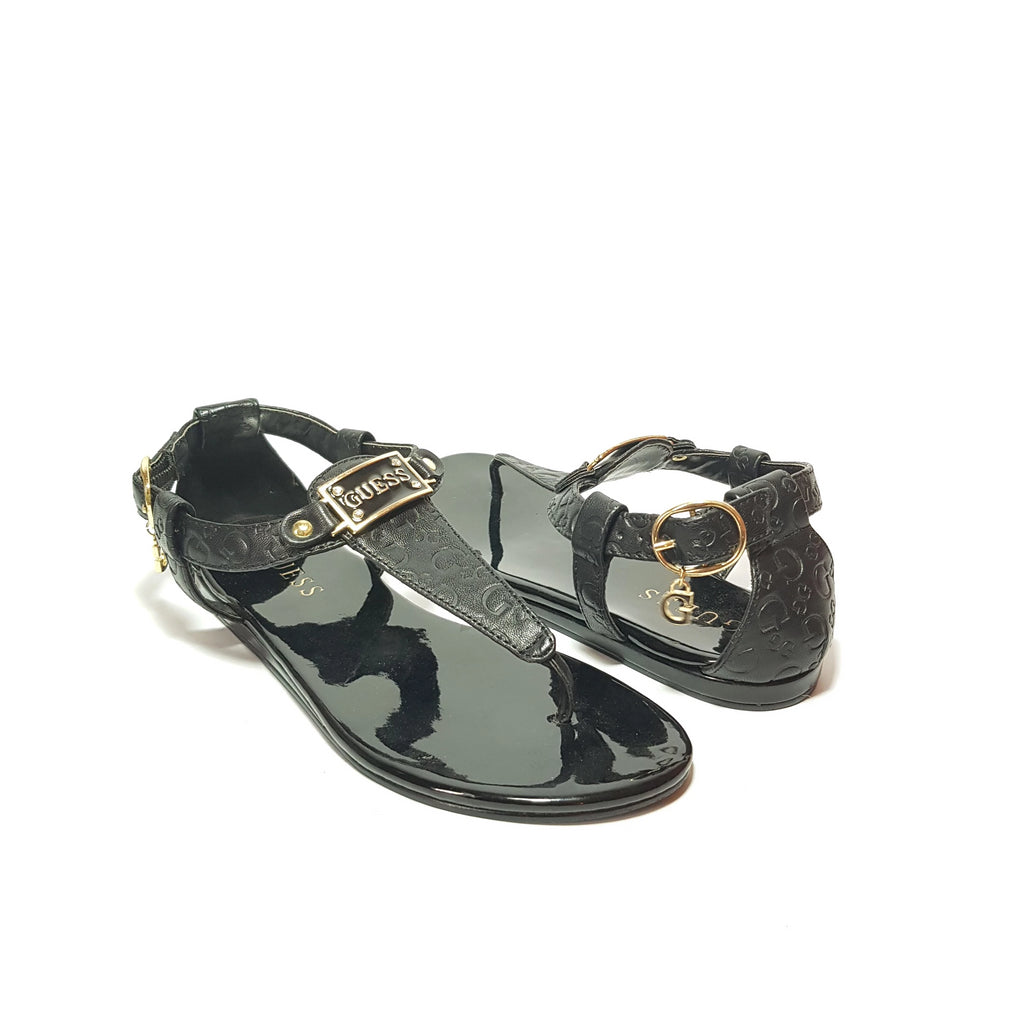 GUESS Black Thong Rhinestone Sandals | Pre Loved |