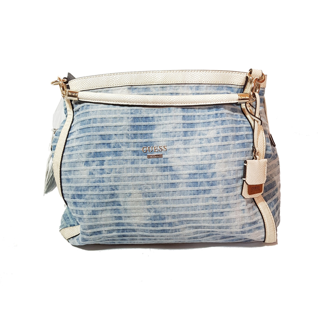 Guess Denim & White Leather Large Bag | Brand New |