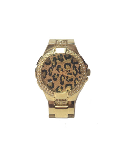 GUESS Leopard Print Rhinestone Gold Watch | Pre Loved |