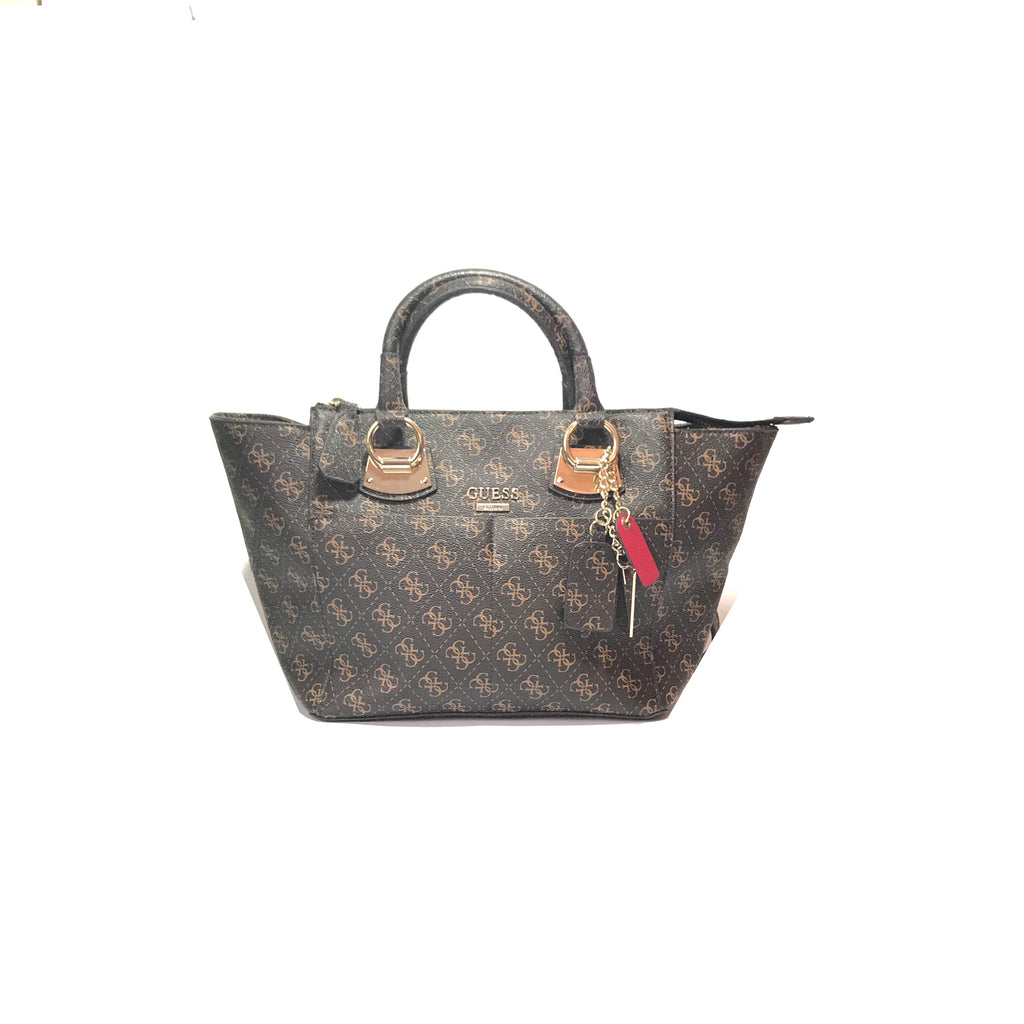 Guess Monogram Coated Canvas Brown Tote | Gently Used |