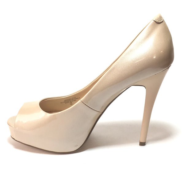 GUESS Nude Patent Leather Peep-toe Platform Heels | Like New |