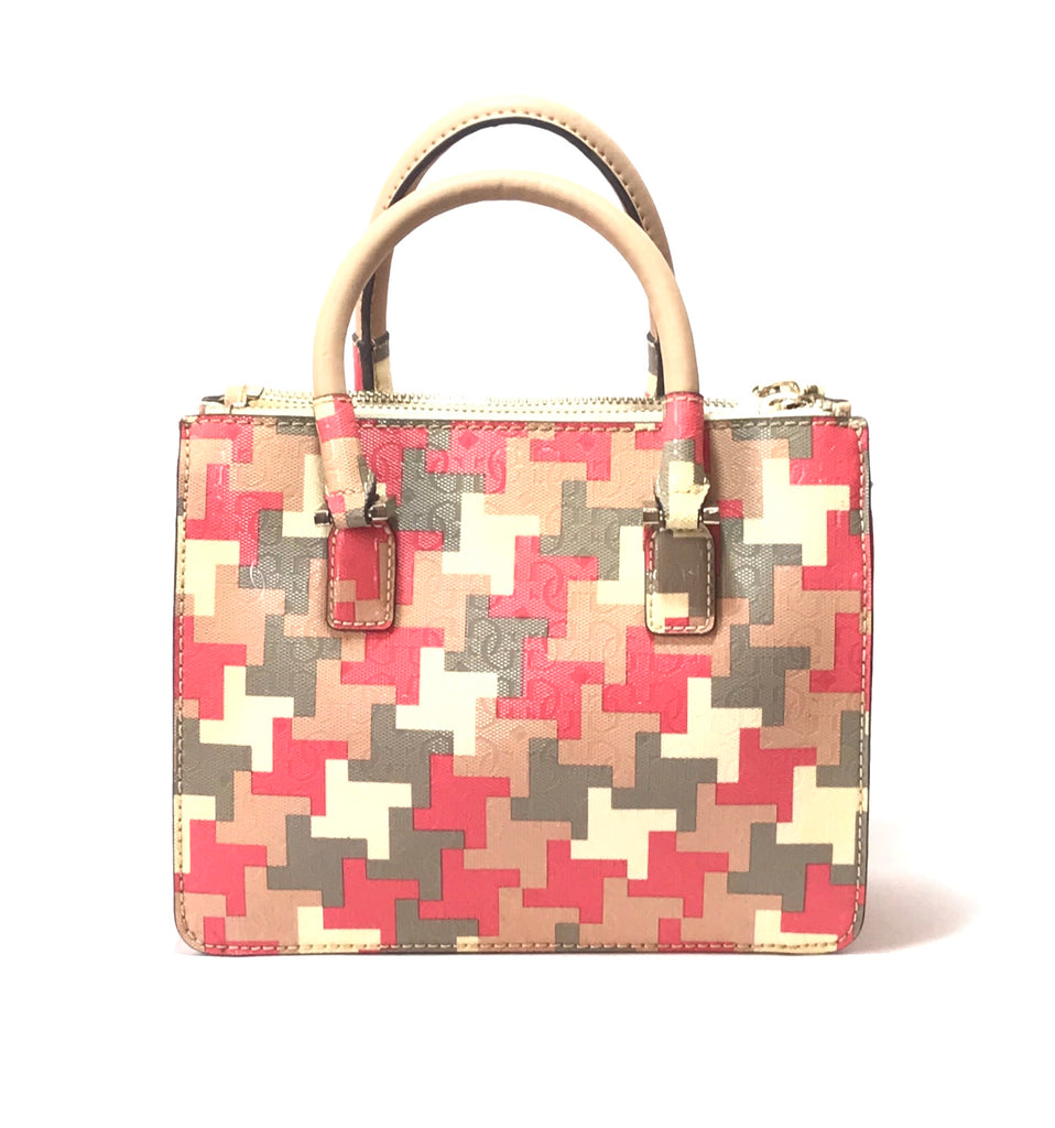 GUESS Puzzle Print Tricolor Leather Tote | Gently Used |