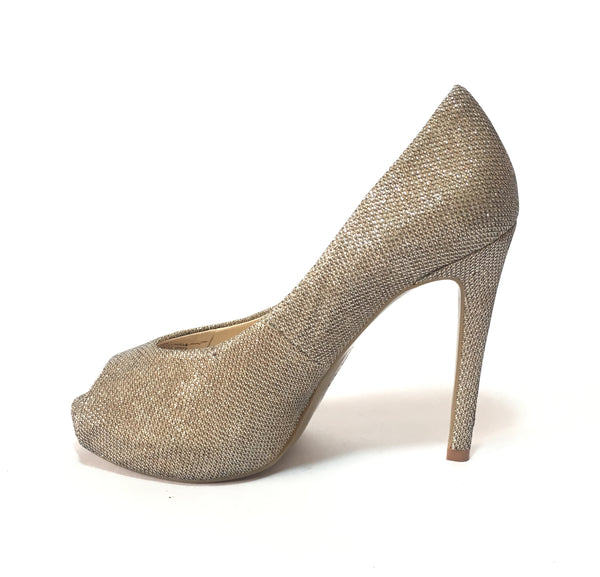 GUESS Metallic Silver/ Gold Peep-toe Pumps | Gently Used |