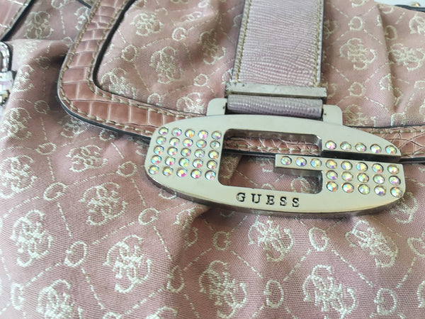 Guess Pink Monogrammed Shoulder Bag | Pre Loved |