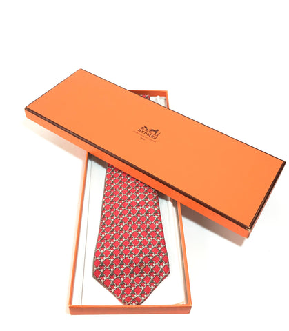 HERMES Men's Red Silk Tie | Gently Used |