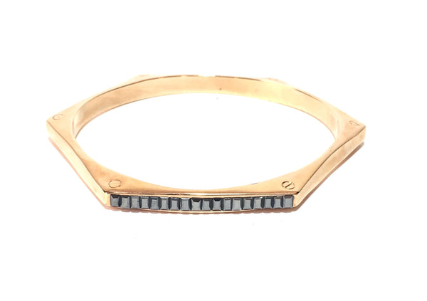 Henri Bendel Gold & Grey Crystal Rhinestones Bangle | Like New |
