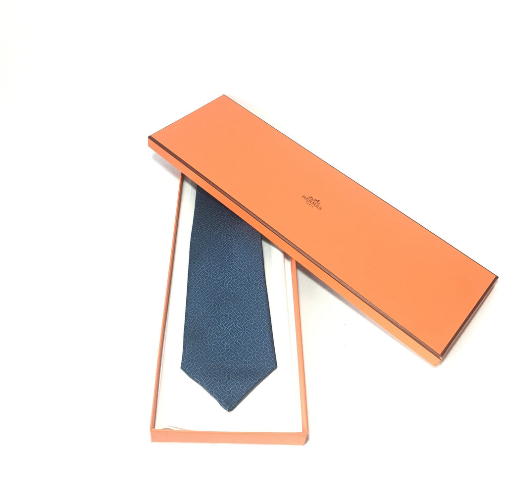 HERMES Men's Blue Silk Tie | Brand New |