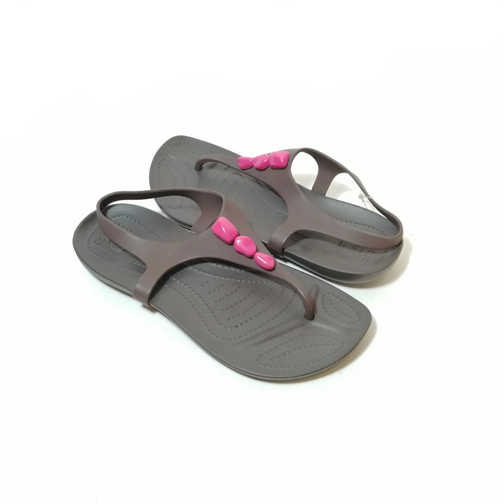 Crocs Grey & Pink Thong Sandals