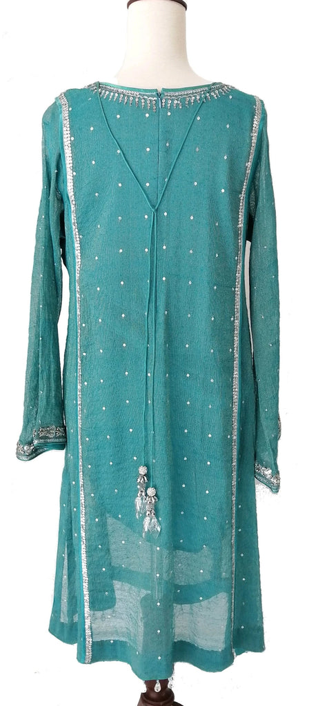 Nomi Ansari Blue Chiffon Embroidered Outfit (3 pieces)