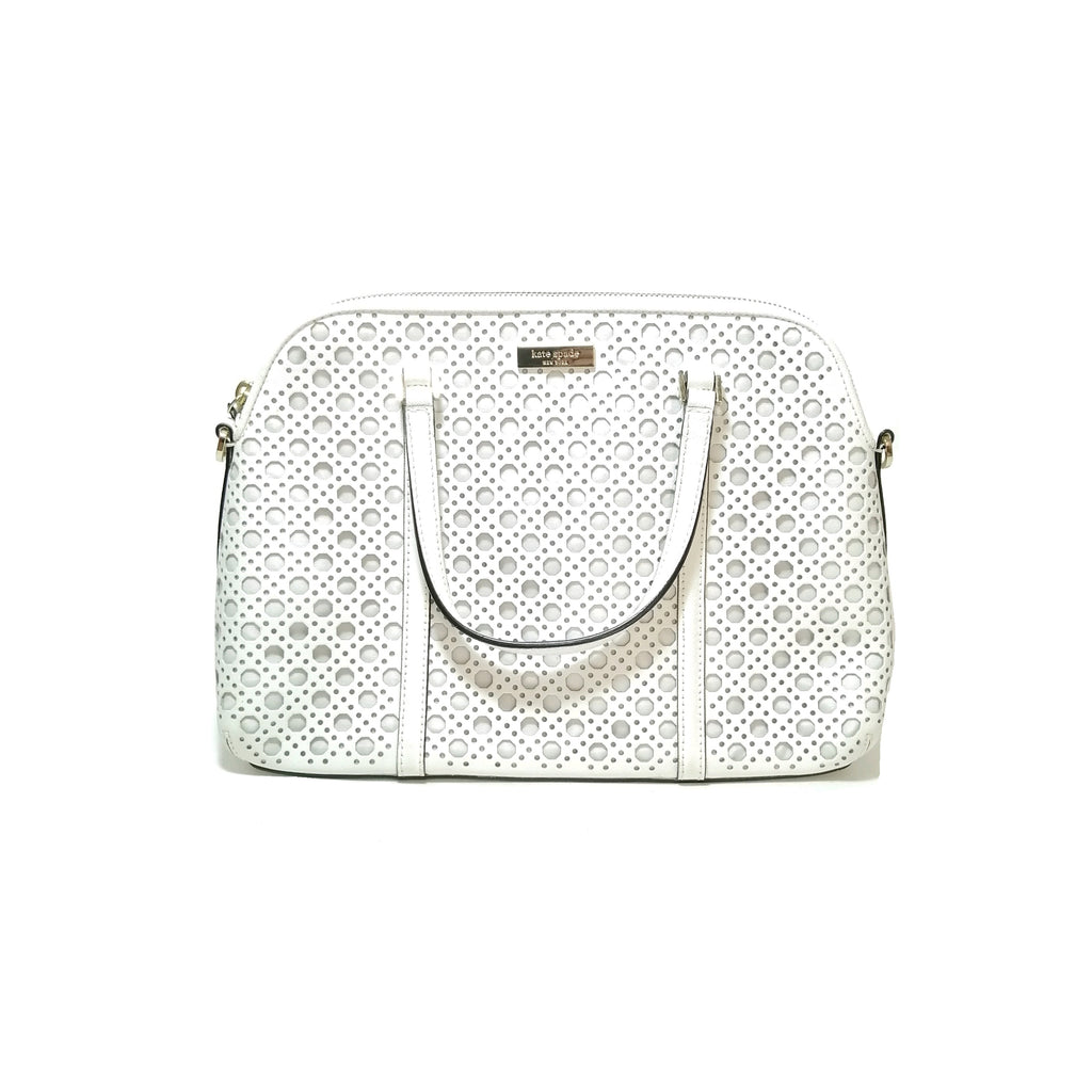 Kate Spade White Laser Cut Tote Leather Bag