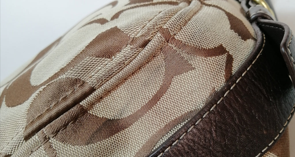 Coach Beige & Brown Monogram Shoulder Bag