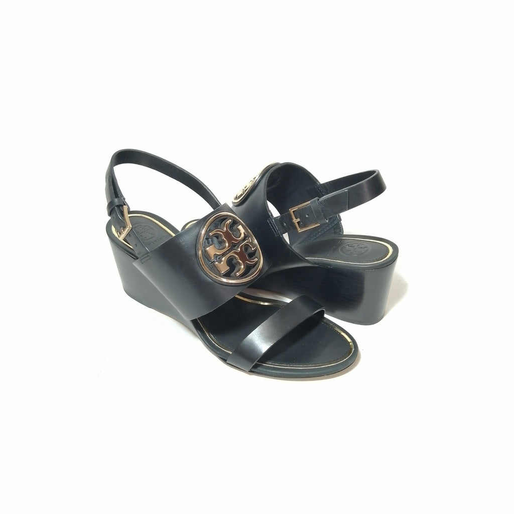 Tory Burch Black Miller Metal Logo Wedge Sandals