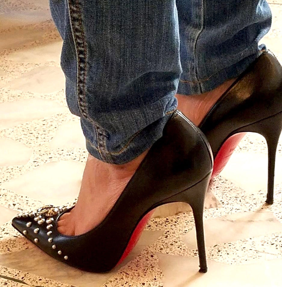Christian Louboutin Black Leather with Silver Studs Pumps | Pre Loved | - Secret Stash