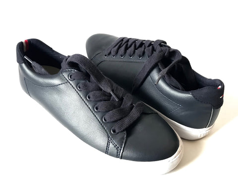 Tommy Hilfiger Black & White Leather Sneakers | Gently Used |
