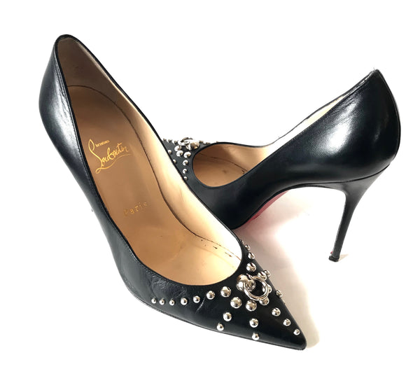 Christian Louboutin Black Leather with Silver Studs Pumps | Pre Loved |