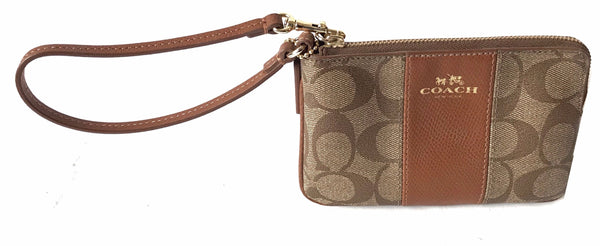 Coach Coated Canvas with Leather Strip Wristlet Wallet | Brand New |