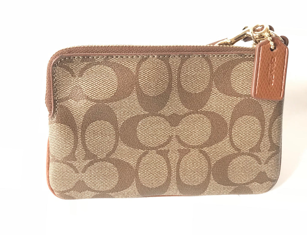 Coach Coated Canvas with Leather Strip Wristlet Wallet | Brand New | - Secret Stash