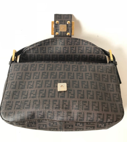 Fendi Zucchino Bag with Gold Chain Strap Shoulder Bag | Pre Loved |