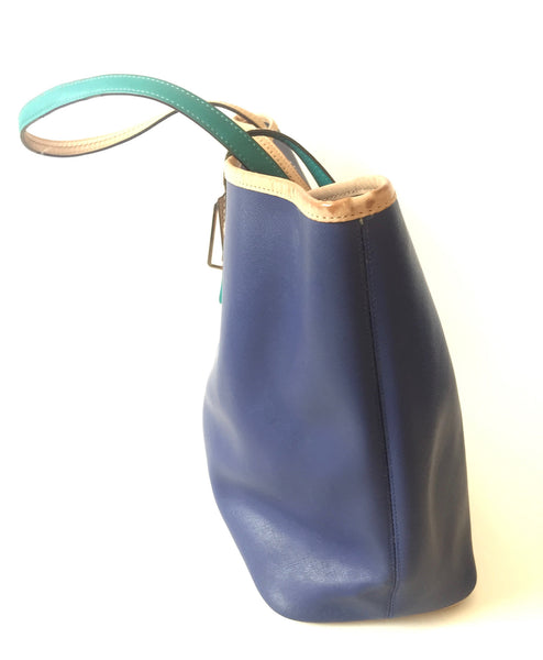 Coach Navy Blue Leather Tote | Pre Loved | - Secret Stash