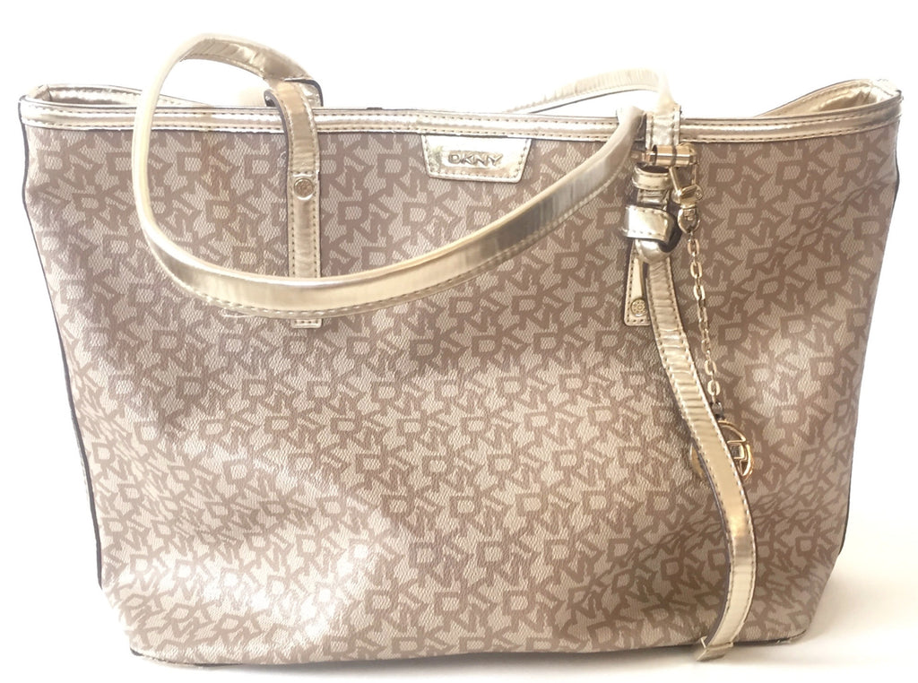 DKNY Monogram Canvas with Leather Trim Tote | Gently Used | - Secret Stash