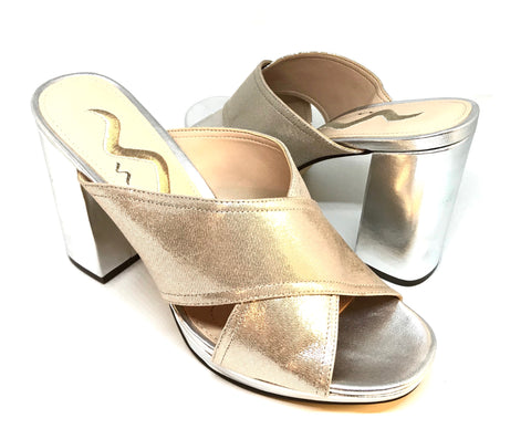 NINA Metallic Criss Cross Block Heels | Brand New |