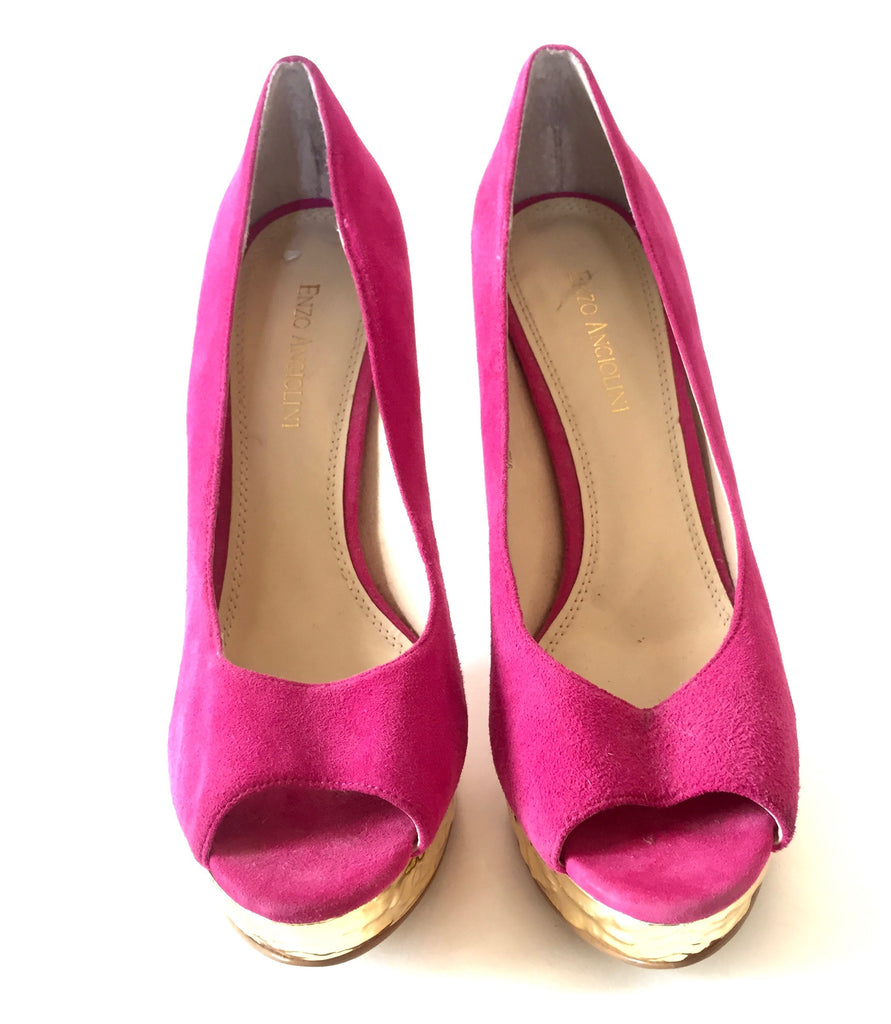 Enzo Angiolini Pink & Gold Peep-toe Pumps | Gently Used | - Secret Stash