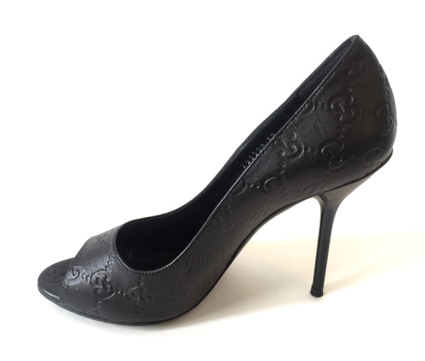 Gucci Black Guccissima Leather Peep Toe Pumps | Gently Used | - Secret Stash