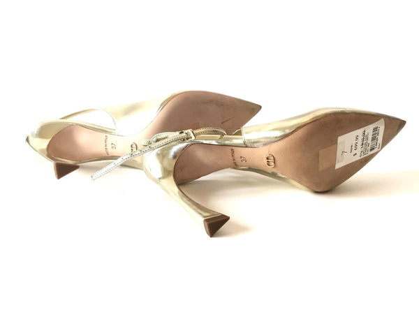 Christian Dior Gold Pointed Sling Back Gold Heels | Gently Used | - Secret Stash