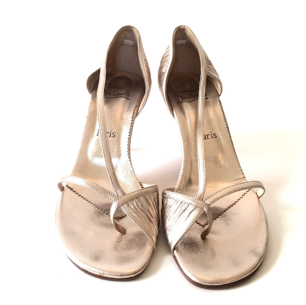 Christian Louboutin Rose Gold Leather Sandals | Gently Used | - Secret Stash