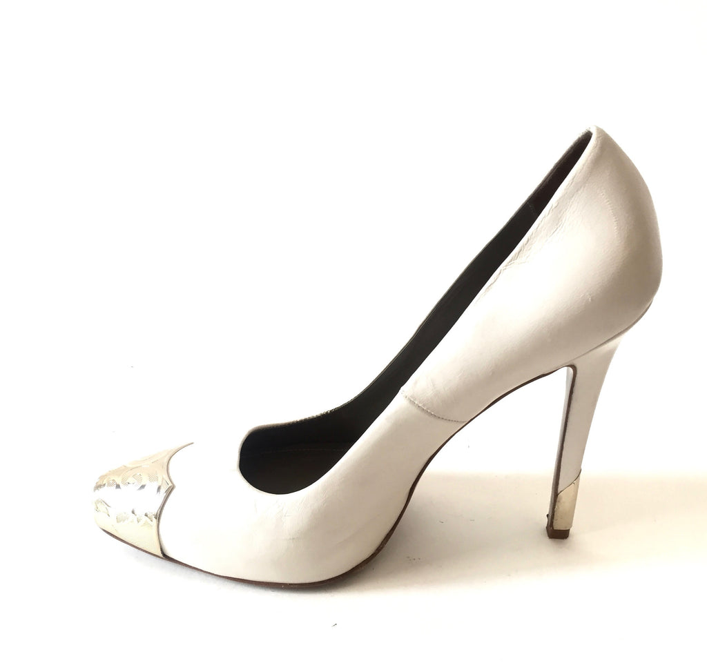Versace Collection White Leather Pumps | Gently Used | - Secret Stash