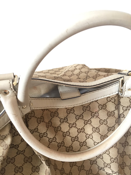 Gucci Canvas 'Sukey' Large Canvas with Leather Trim Tote | Pre Loved | - Secret Stash